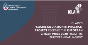 ICLAIM's 'Social Mediation in Practice' project receives the European citizen prize 2020 from the European Parliament