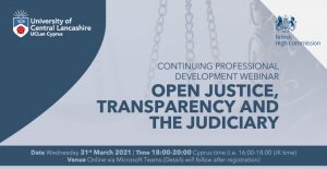 Continuing Professional Development Webinar: Open Justice, Transparency and the Judiciary, Wednesday 31st March 2021, 18:00-20:00 🗓