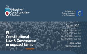 LLM module on EU Constitutional Law and Governance in populist times, The School of Law of UCLan Cyprus 🗓